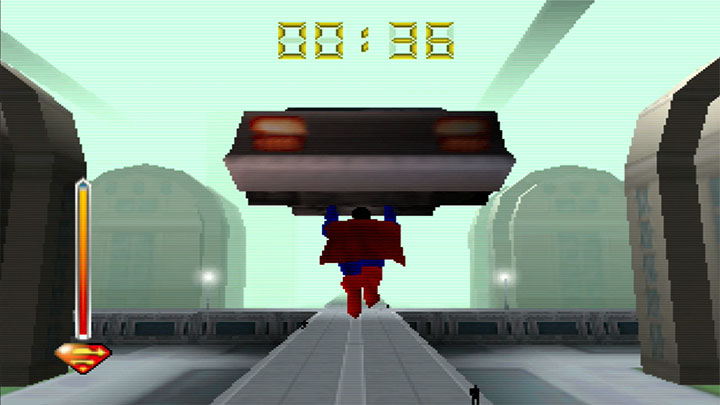 Lifting a police car and carrying it to safety in Superman 64.
