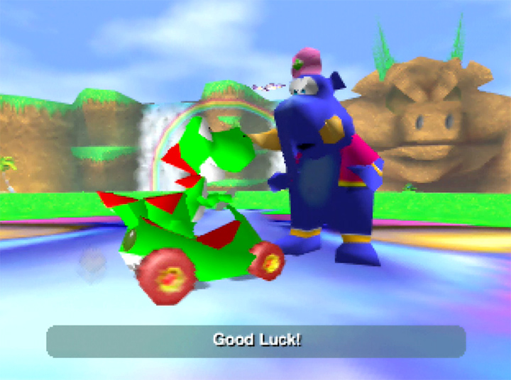 Yoshi talks to Taj the Genie in Yoshi's Racing Story's adventure mode.