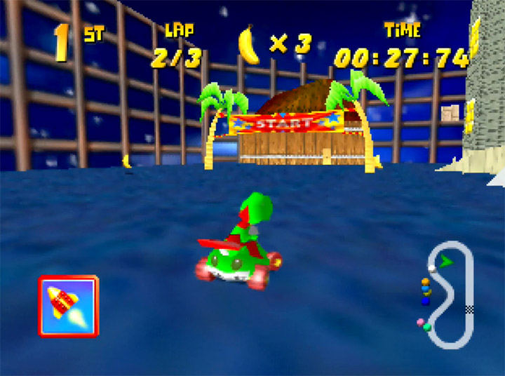 Big Boo's Haunt custom track in Yoshi's Racing Story - a Diddy Kong Racing mod