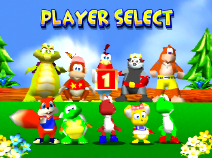 Player select screen in Yoshi's Racing Story - a Diddy Kong Racing mod for N64.