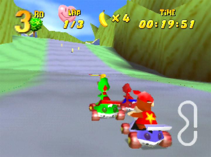 Yoshi Falls track in Yoshi's Racing Story - a Diddy Kong Racing mod for N64