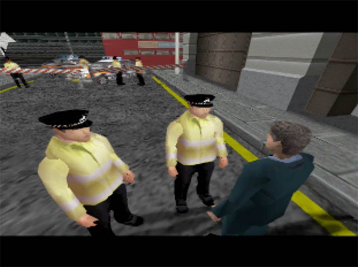 James Bond speaks to British police officers in a cutscene from The World Is Not Enough for N64.