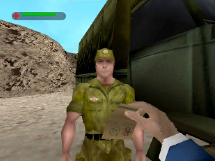 James Bond shows his fake credentials to Colonel Akakievich in The World Is Not Enough for N64