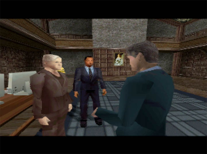 James Bond discusses the mission with M and Robinson in The World Is Not Enough for N64