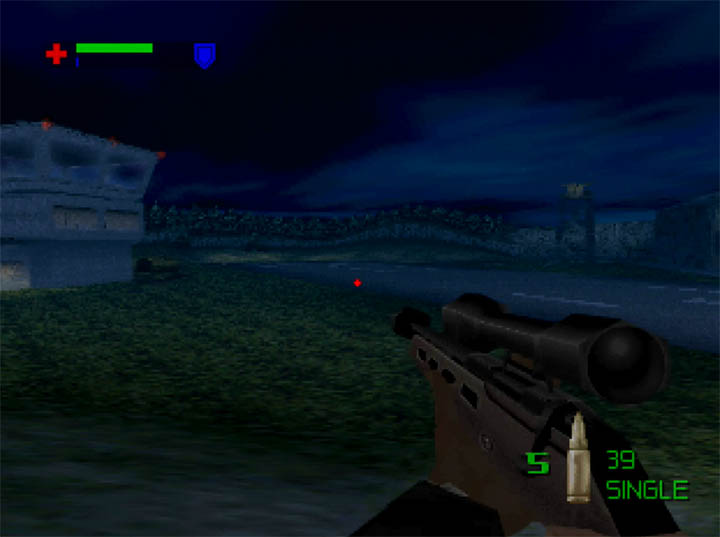 Sneaking around the airport in The World Is Not Enough's Midnight Departure mission for Nintendo 64