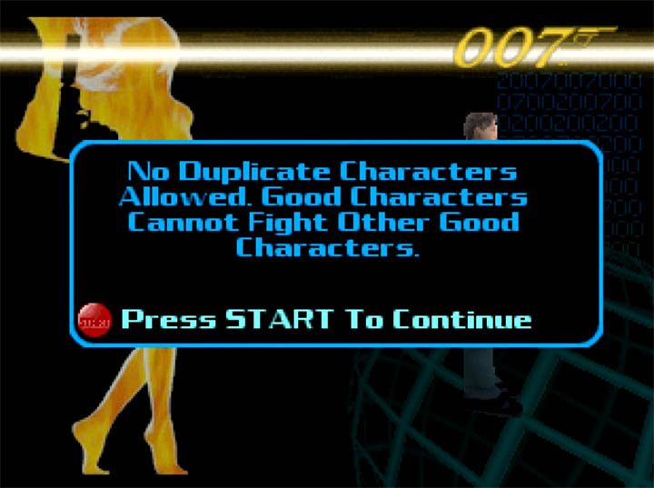 The ridiculous multiplayer character restrictions in The World Is Not Enough for N64