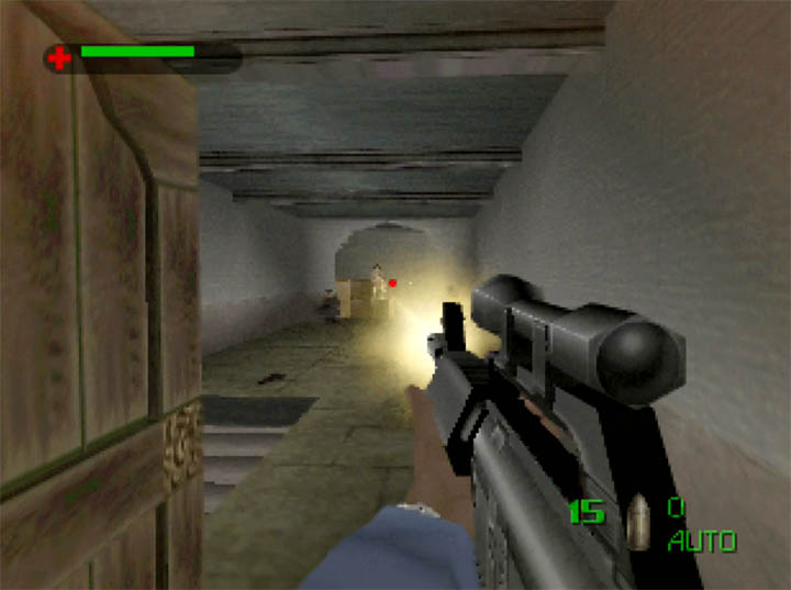 Using the Mustang MAR-4 to gun down enemy guards in The World Is Not Enough for N64