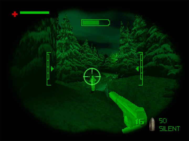 Using night vision goggles in The World Is Not Enough for N64.