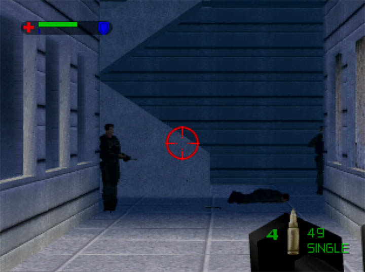 Enemy guards oblivious to the fact that a comrade has been shot and killed right in front of them in Using the Frinesi Special 12 shotgun in The World Is Not Enough for N64