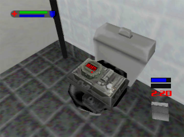 Defusing a bomb on top of a toilet in The World Is Not Enough for Nintendo 64