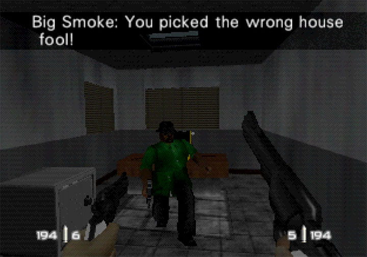 Having a shootout with Big Smoke in RickRollEye 64, a GoldenEye 007 mod for Nintendo 64.