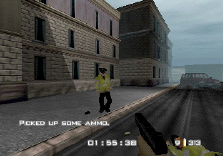 Controversial level from RickRollEye 64 where you shoot British police officers.