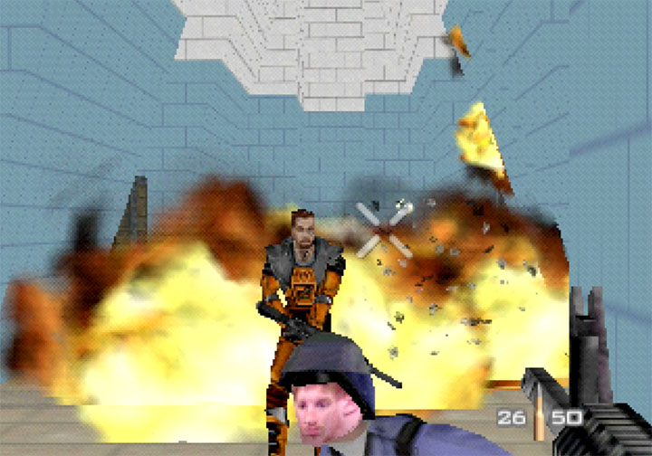 Fighting Gordon Freeman in RickRollEye 64, a GoldenEye 007 mod for the N64.