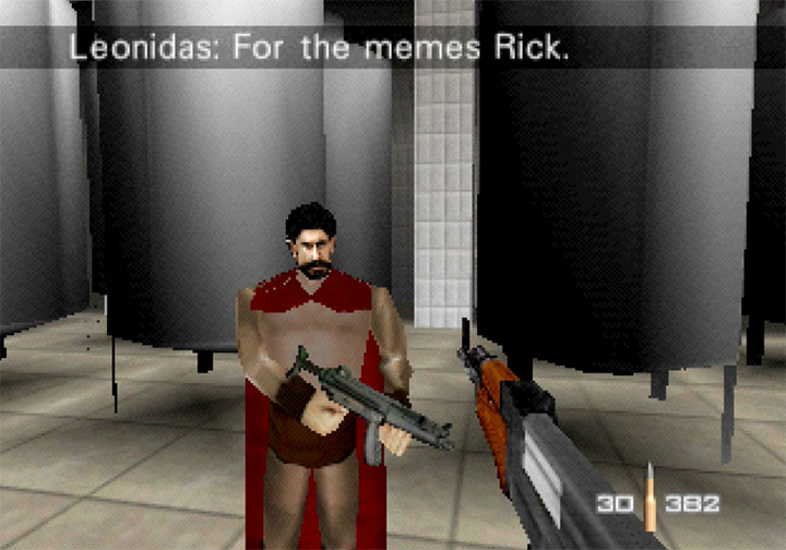 Gerard Butler/Leonidas playing the role of Trevelyan in GoldenEye 007 mod RickRollEye 64.