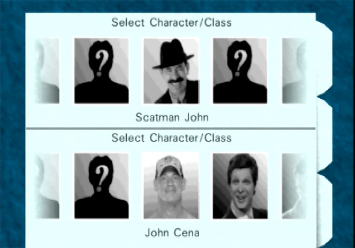 Multiplayer character select screen in RickRollEye 64, a GoldenEye 007