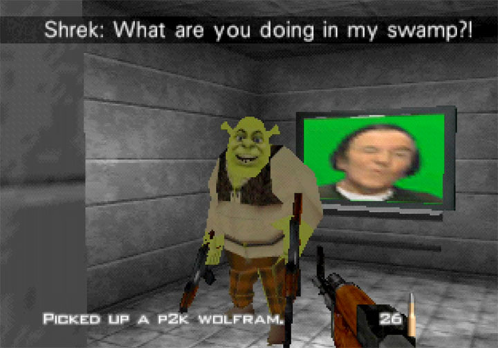 Battling Shrek in RickRollEye 64's first mission
