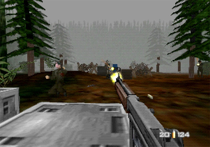 Shooting World War II soldiers in RickRollEye 64, a GoldenEye 007 mod for N64.