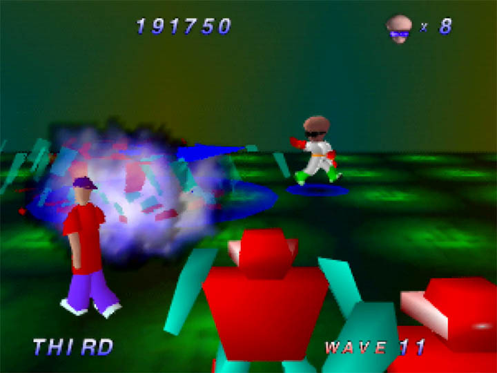 Shooting Grunts while trying to rescue humans in Robotron 64 for the N64.