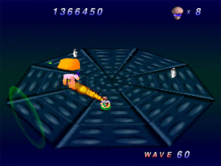 Using the flamethrower in Robotron 64 for Nintendo 64