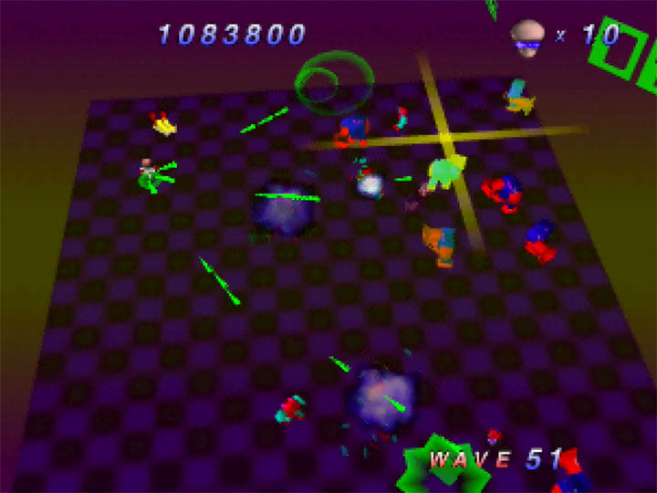 using the triple shot power-up in Robotron 64 for Nintendo 64.