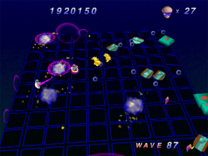Battling tanks in Robotron 64 for Nintendo 64