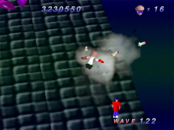 Death by rocket in Robotron 64 for Nintendo 64