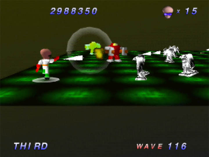 Using the impractical close-up camera angle in Robotron 64