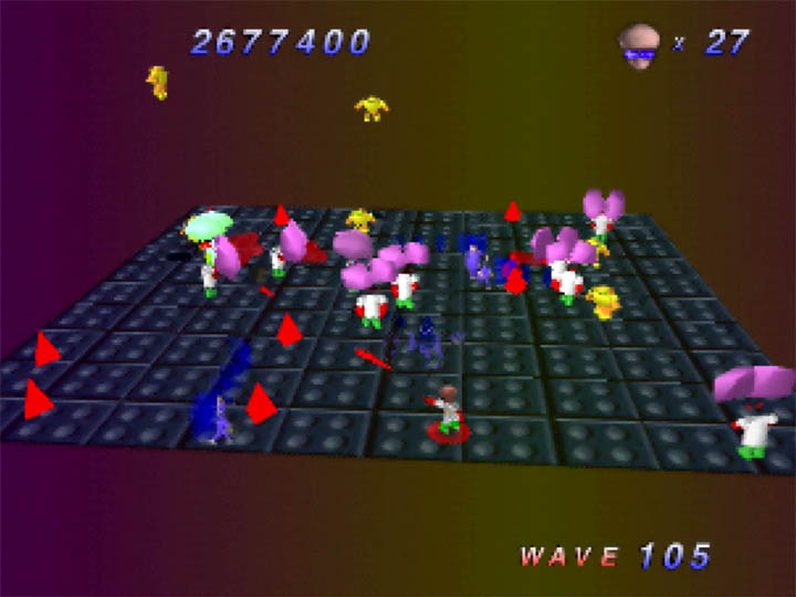 Battling the Brains as they mutate humans into enemies in Robotron 64
