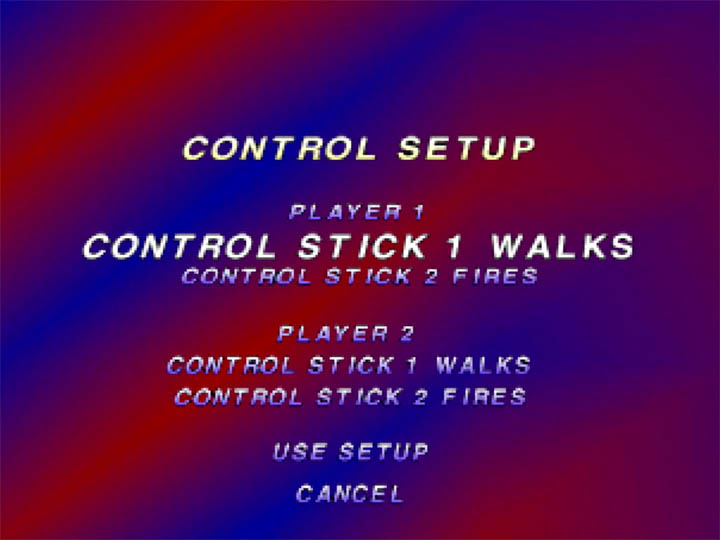 Robotron 64 control setup menu enables one player to use two joysticks.