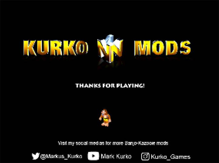 Kurko mods end screen in Banjo-Kazooie x Donkey Kong Country mod for N64