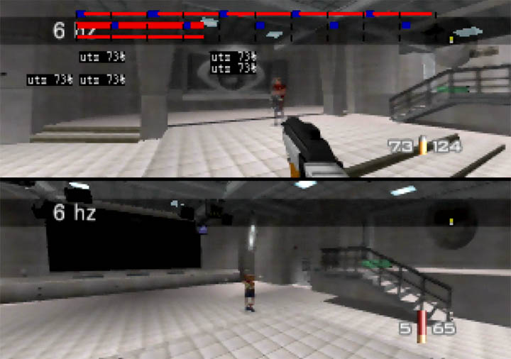 Two-player multiplayer deathmatch on GoldenEye 007.
