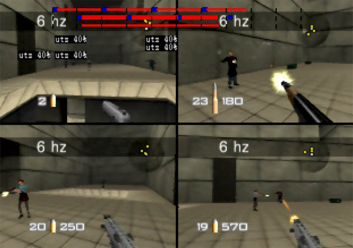 Playing with rocket launchers on GoldenEye 007's Temple map.