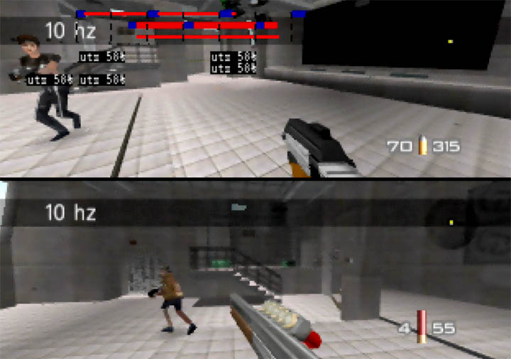Two-player multiplayer deathmatch on GoldenEye 007 Tournament Edition.