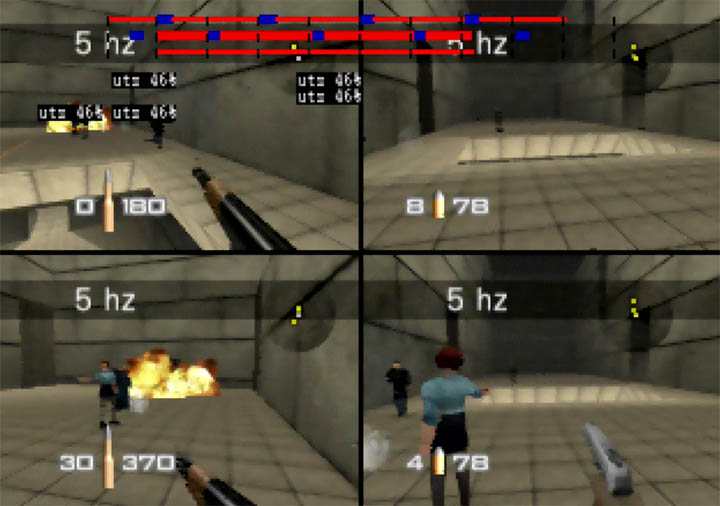 Playing with rocket launchers on GoldenEye 007 Tournament Edition's Temple map