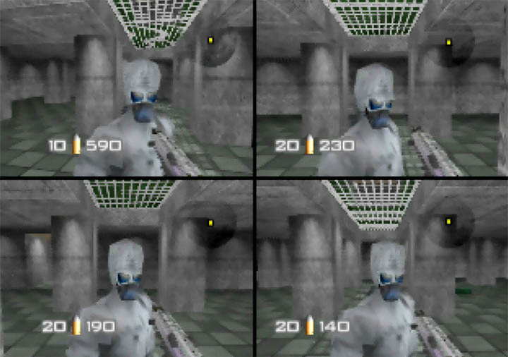 Four players all playing as Siberian Special Forces in GoldenEye 007 Tournament Edition