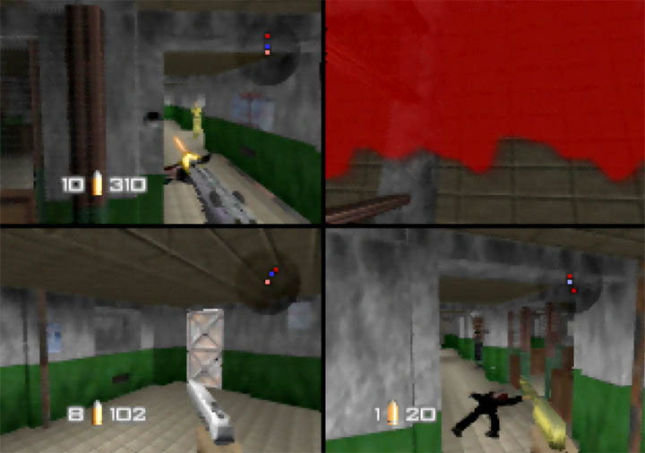 Gunning down an opponent with the Golden Gun in GoldenEye 007: Tournament Edition.