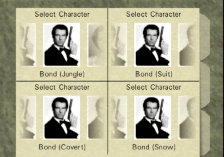 Additional outfit options in GoldenEye 007: Tournament Edition for Nintendo 64.