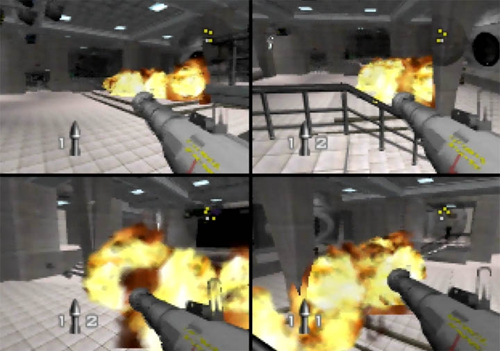 Firing rockets at one another in GoldenEye 007 Tournament Edition's multiplayer mode on N64.