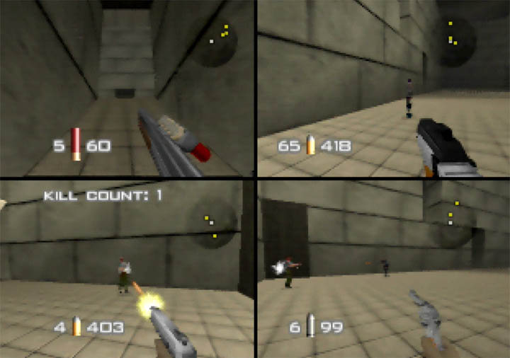 Temple deathmatch with four players in GoldenEye 007 Tournament Edition for N64.