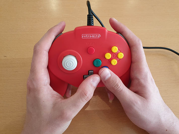 Using the D-pad with the A button is impractical on the Tribute 64 controller for N64 by Retro-bit.