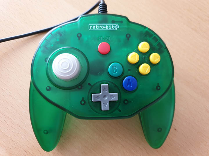 Face buttons on the Retro-Bit Tribute 64 controller.