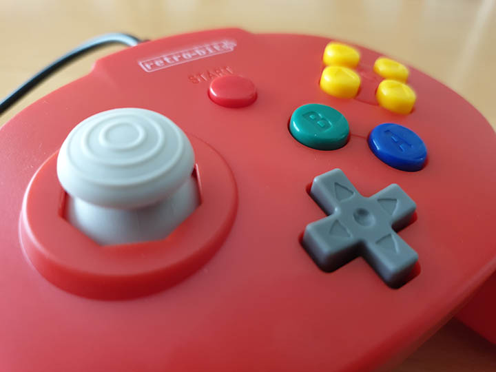 Close-up shot of the Retro-Bit Tribute 64 controller's joystick.