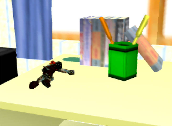 Ganondorf is discarded on the desk after beating the single-player mode in Super Smash Bros. 64