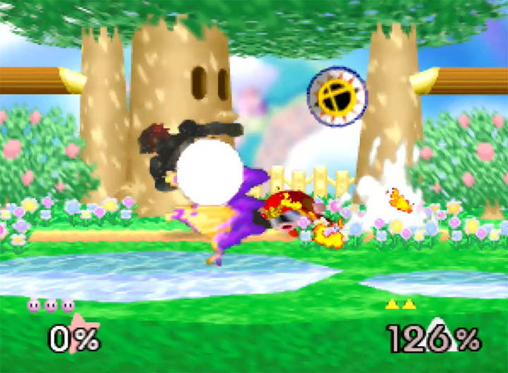 "Kirby ""Warlock Punches"" Ganondorf in Super Smash Bros. 64"
