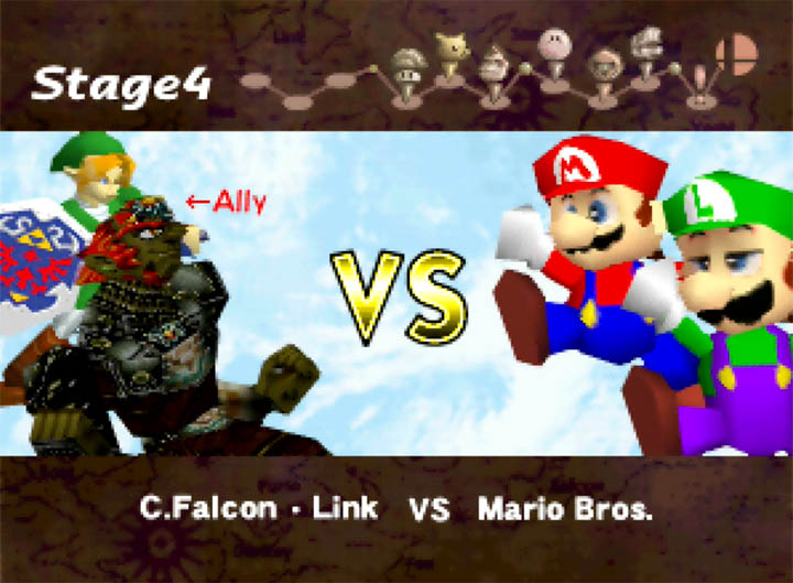 The Gerudo King teams up with Link against the Super Mario Bros, in Ganondorf in Super Smash Bros. mod for N64.