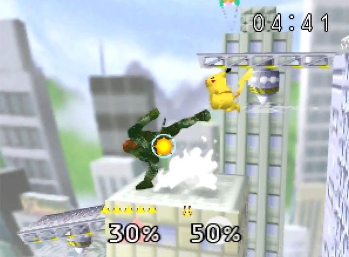Ganondorf kicks Pikachu atop the Silph Co. building in Super Smash Bros. 64 for Nintendo 64