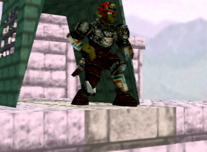 Ganondorf atop Hyrule Castle in the Ganondorf in Super Smash Bros. 64 mod for N64