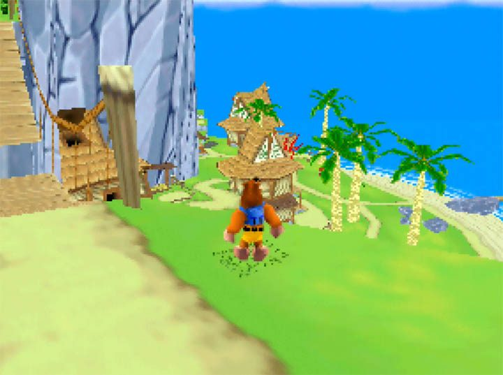 A high-up view from the bridge of Outset Island in Banjo Kazooie: The Bear Waker, a Wind Waker-inspired N64 mod.