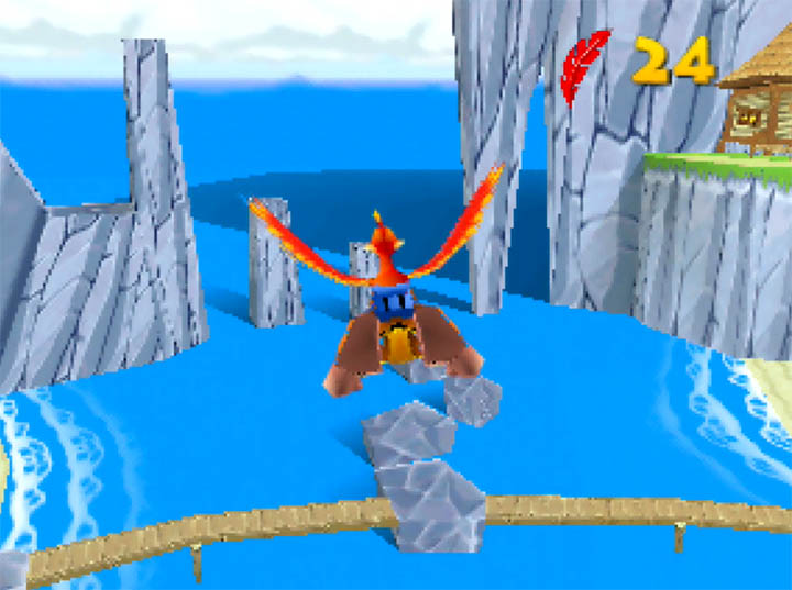 Flying across Outset Island in Banjo-Kazooie / Legend of Zelda: Wind Waker crossover The Bear Waker for Nintendo 64.