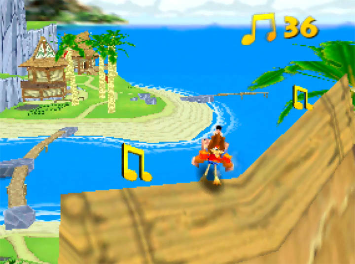 Standing on a rooftop in Outset Island collecting musical notes in Banjo Kazooie: The Bear Waker
